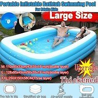 2020 New Adults Kids Pool Bathing Tub Outdoor Indoor Foldable 110-128 CM Blue Thick Inflatable Swimming Pool | Wish