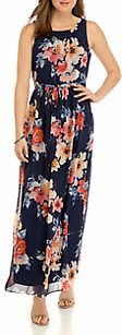 Jessica Howard Women's Sleeveless Shirred Neck and Skirt Maxi Dress with Tie Sash