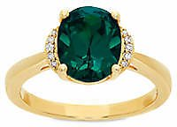 Belk & Co. 2.6 Ct. T.w. Created Emerald and Diamond Oval Ring in 10K Yellow Gold