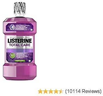 Listerine Total Care, 6 Benefit Fluoride Mouthwash for Bad Breath and Enamel Strength, Fresh Mint Flavor, 1 L