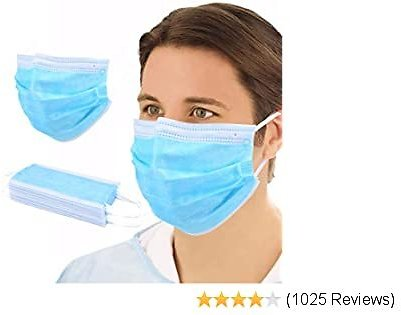 NJ058 100 PCS Disposable Filter 3-ply Face Protective Cover for Personal Protection Need Dust-Proof Anti Spittle Eye (100Masks)