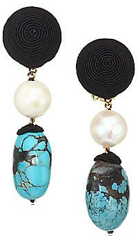 Rebecca De Ravenel - Mini Treasures 13MM-15MM Pearl & Turquoise Clip-On Drop Earrings
