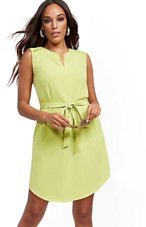 Button-Accent Belted Shirtdress (3 Colors)