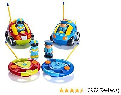Pack of 2 Cartoon R/C Police Car and Race Car Radio Control Toys for Kids