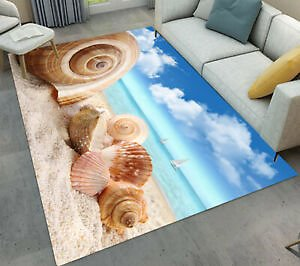 Sand Beach Conch Shell Scenic Area Rugs Kid Bedroom Carpet Living Room Floor Mat