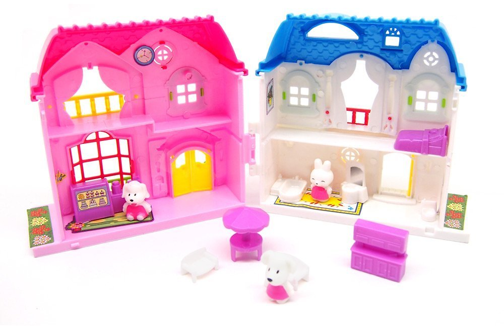 Mini Dollhouse Villa Pretend Play Doll Furniture Toy Girl Play Toy and Animals!!