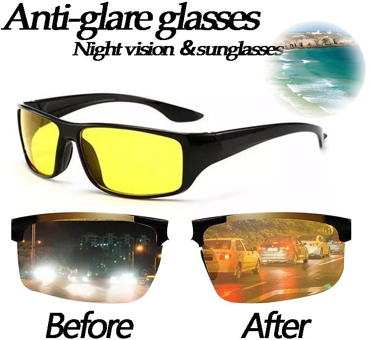 Night Vision Glasses for Driving High Quality Black Technology Hd Polarized Light Night Anti-glare High Beam Auto Accessories