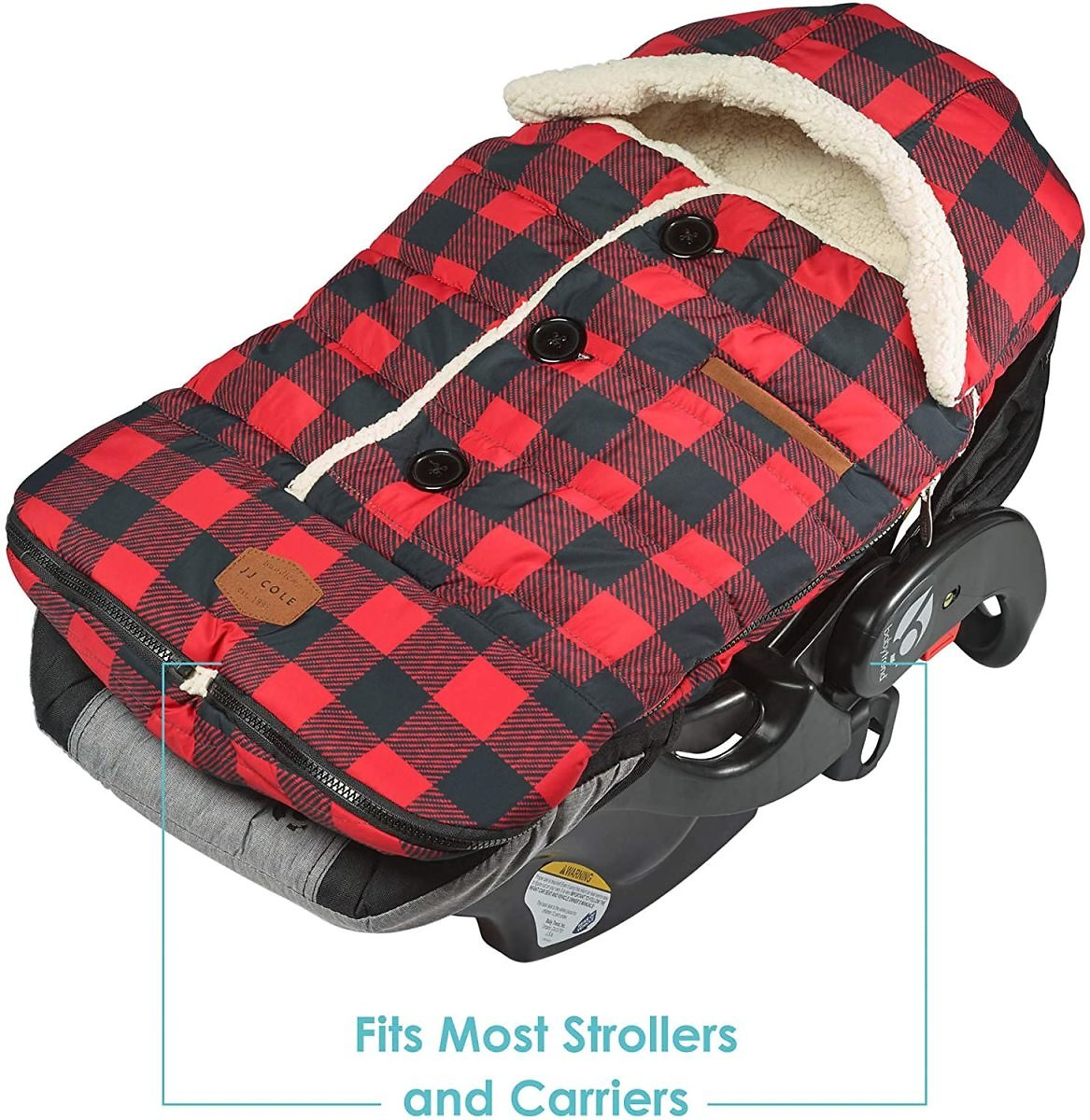 JJ Cole - Urban Bundleme, Canopy Style Bunting Bag to Protect Baby from Cold and Winter Weather in Car Seats and Strollers, Buffalo Plaid, Infant