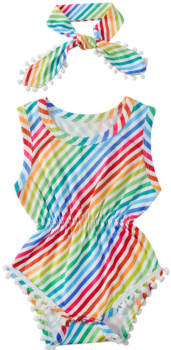 Kids4ever Baby Boys Girls Rompers Rainbow Stripe Jumpsuit with Headband(0-24 Months)
