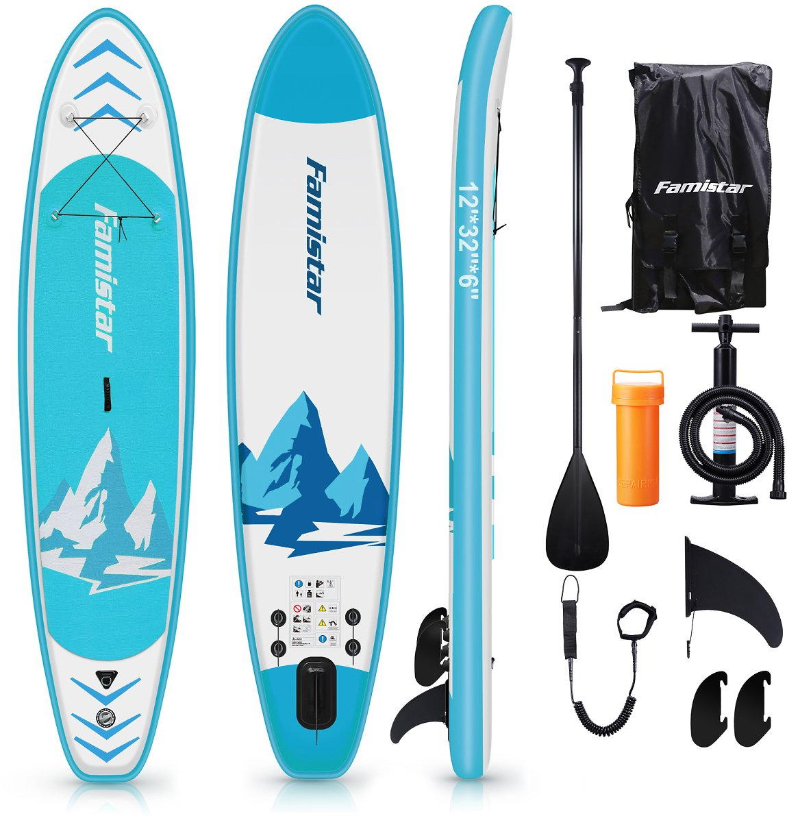 UNDER $500 12' Inflatable Paddle Board SUP, 3 Fins, Paddle, Pump & Backpack, 3 size + 3 colors available----38%OFF