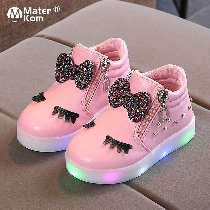 US $13.12 31% OFF|Size 21 30 Children Glowing Sneakers Kid Princess Bow for Girls LED Shoes Cute Baby Sneakers with Light Shoes Krasovki Luminous|Sneakers| - AliExpress