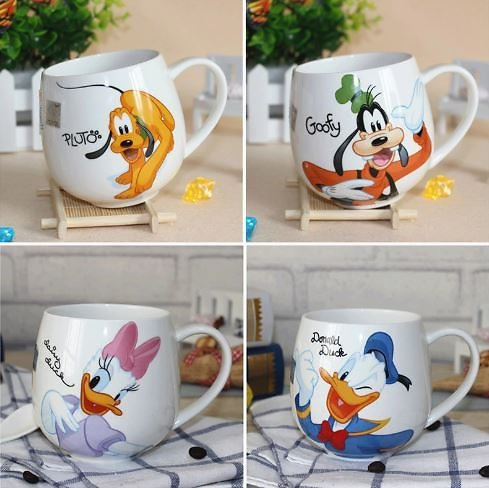 38% OFF Hot Disney Children 400ML Meter Mouse Ceramic Cup Cartoon Pattern Donald Duck Goofy Pluto Lady Men's Cup Office Coffee M
