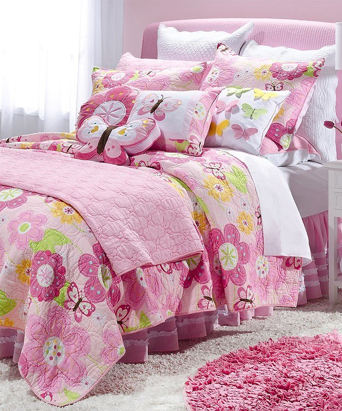 Pink Floral Butterfly Cotton Quilt