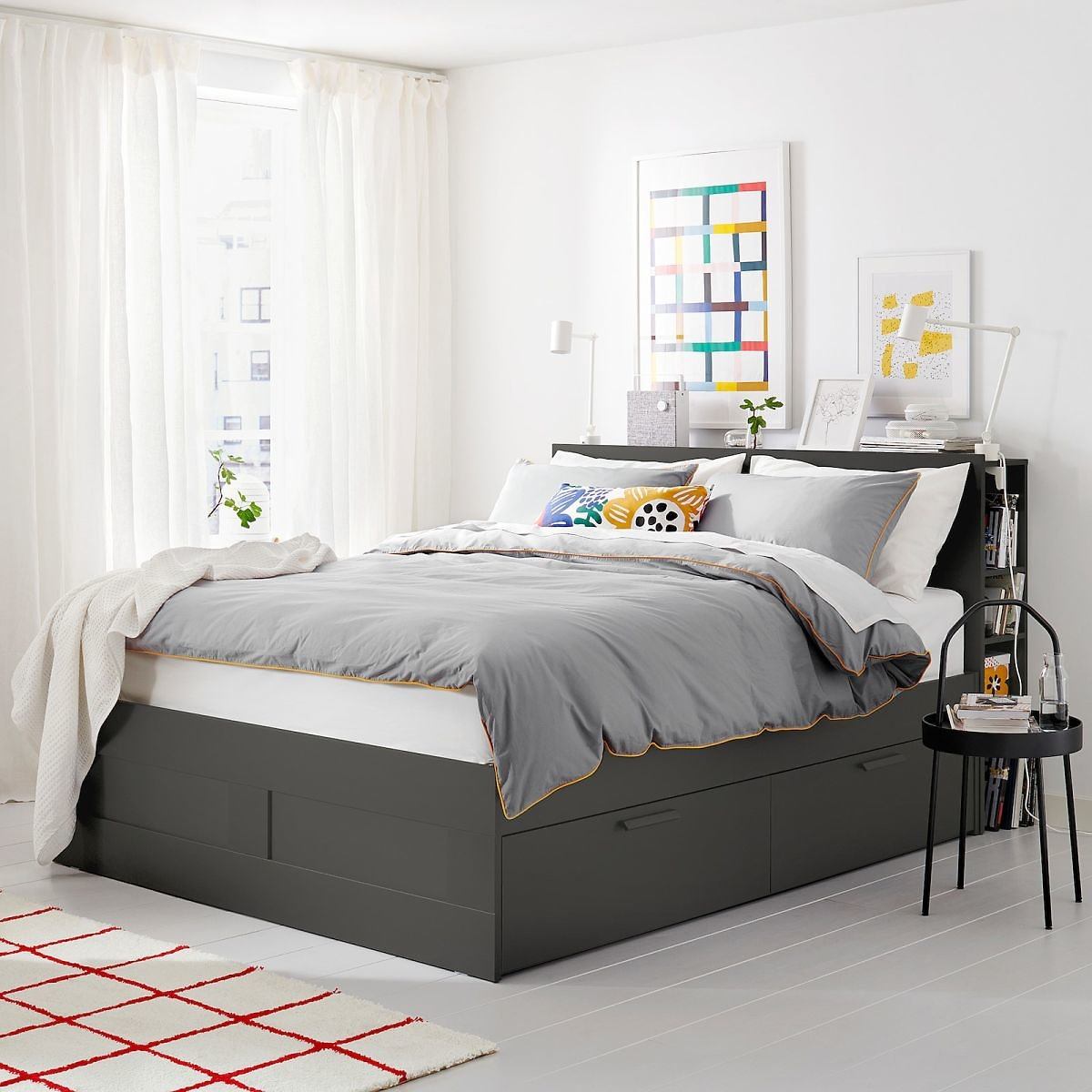 BRIMNES Bed Frame with Storage & Headboard, Luröy Queen (3 Colors)