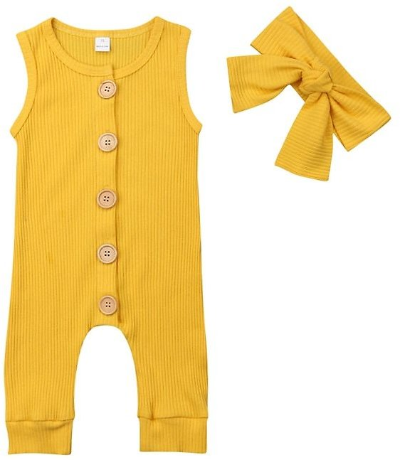 Summer Solid Rompers Newborn Infant Baby Girl Boy Outfit Cotton Romper Jumpsuit Bebe Kids Ropa Sleevless Casual Clothes Set