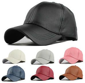 Mens Womens Faux Leather Baseball Caps Truckers Sports Bikers Hats Adjustable