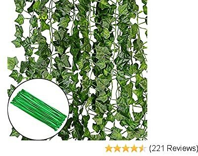 KASZOO 84Ft 12 Pack Artificial Ivy Garland Fake Plants, Vine Hanging Garland, Hanging for Home Kitchen Garden Office Wedding Wall Decor, Green