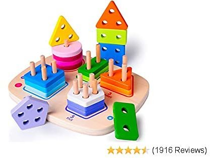 Wooden Educational Toys for 1 2 3 4 Year Old Boys Girls Toddler Shape Sorter Geometric Block Sorting & Stacking Toys Parent-Child Interaction Montessori Preschool Toy Best Christmas Gift Travel Toy