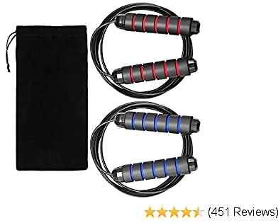 """Hudii Jump Ropes, Smooth Ball Bearing Skipping Ropes with 6"""" Foam Hand Grip, 2 Pack Length Adjustable Jump Ropes with Carrying Bag"""