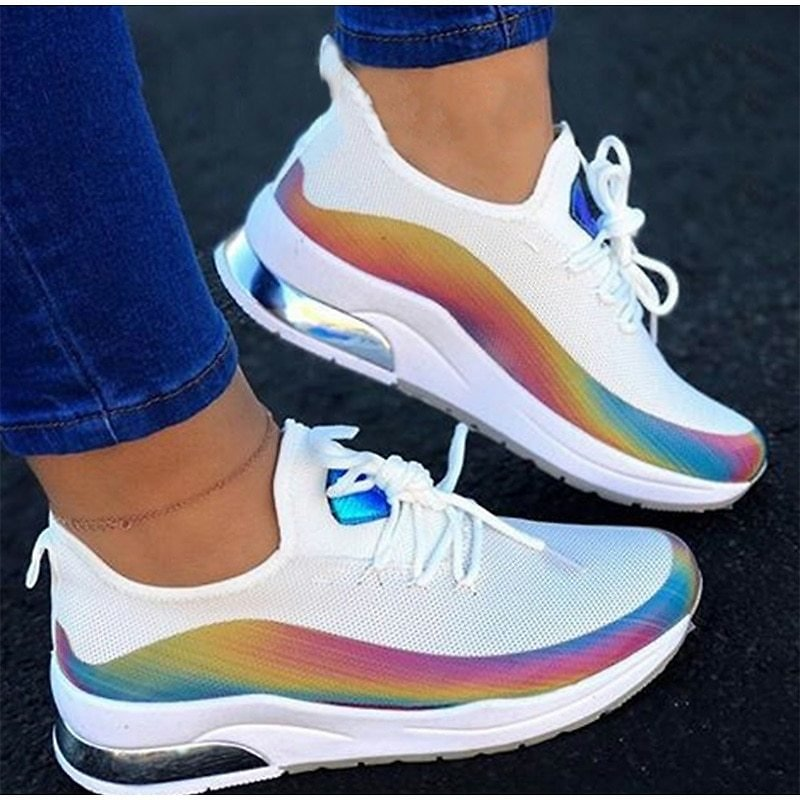 Women Colorful Air-Cushion Sneakers Casual Lace Up Mesh Autumn Vulcanized Shoes Comfort Outdoor Jogging Walking Shoes Sneakers