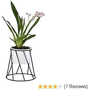 Ceramic Planter Pot With Metal Stand Holder