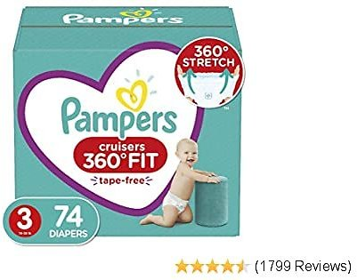 11% Discount - Diapers Size 3, 74 Count By Pampers, Disposable Baby Diapers with Stretchy Waistband, Super Pack (Packaging May V