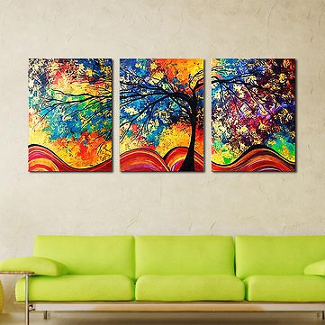 Miico Hand Painted Three Combination Decorative Paintings Money Tree Wall Art For Home Decoration Home DecorfromHome and Gardenon Banggood.com