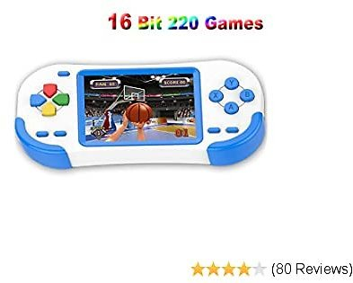 Douddy Handheld Games for Kids with Built in 220 16 Bit Games Player Toy 3.0 Inches Display Rechargeable Birthday Christmas Party Gift (Blue)
