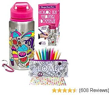 Purple Ladybug Color Your Own Water Bottle for Girls with 10 Bright Markers, Rhinestone Gem Stickers & a Bonus Pencil Case! BPA Free, Kids Water Bottle! Cute Girl Gift, Fun DIY Arts & Craft Kit!