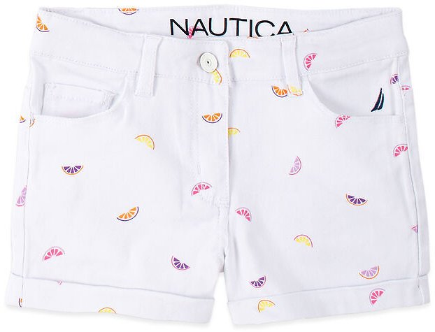 Little Girls' Fruit Printed Denim Shorts (4-7)