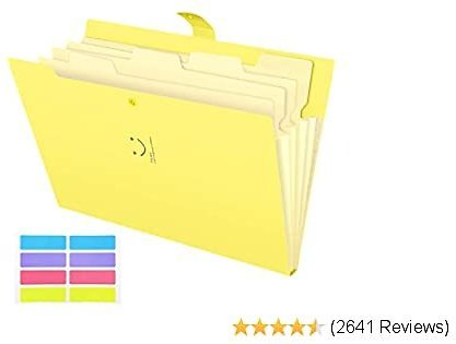 Skydue Letter A4 Paper Expanding File Folder Pockets Accordion Document Organizer (Banana)