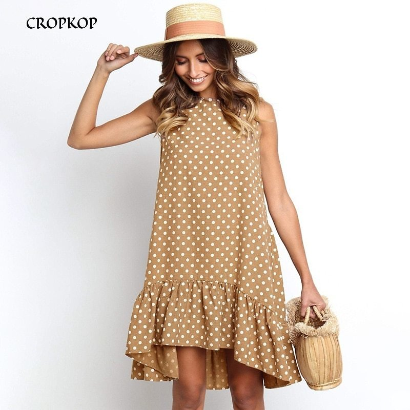 US $12.64 49% OFF|Women Summer Dress Fashion Polka Dot Sleeveless Beach Mini Dress For Women Casual Print Short Loose Blue Sundress 2020 Plus Size|Dresses| - AliExpress