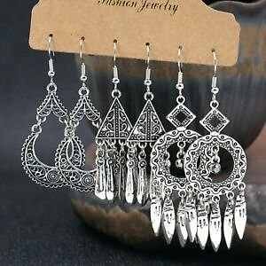 3Pairs Retro Boho Gypsy Tassel Silver Earrings Set Ethnic Drop Dangle Women Gift