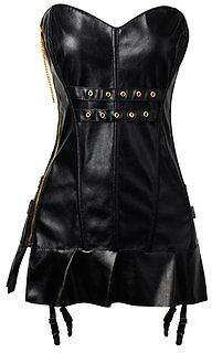 Sexy PU Waist Training Steampunk Corset Dress Side Zipper Body Sculpting Gothic Overbust Bustiers Lingerie from Women's Clothing on Banggood.com