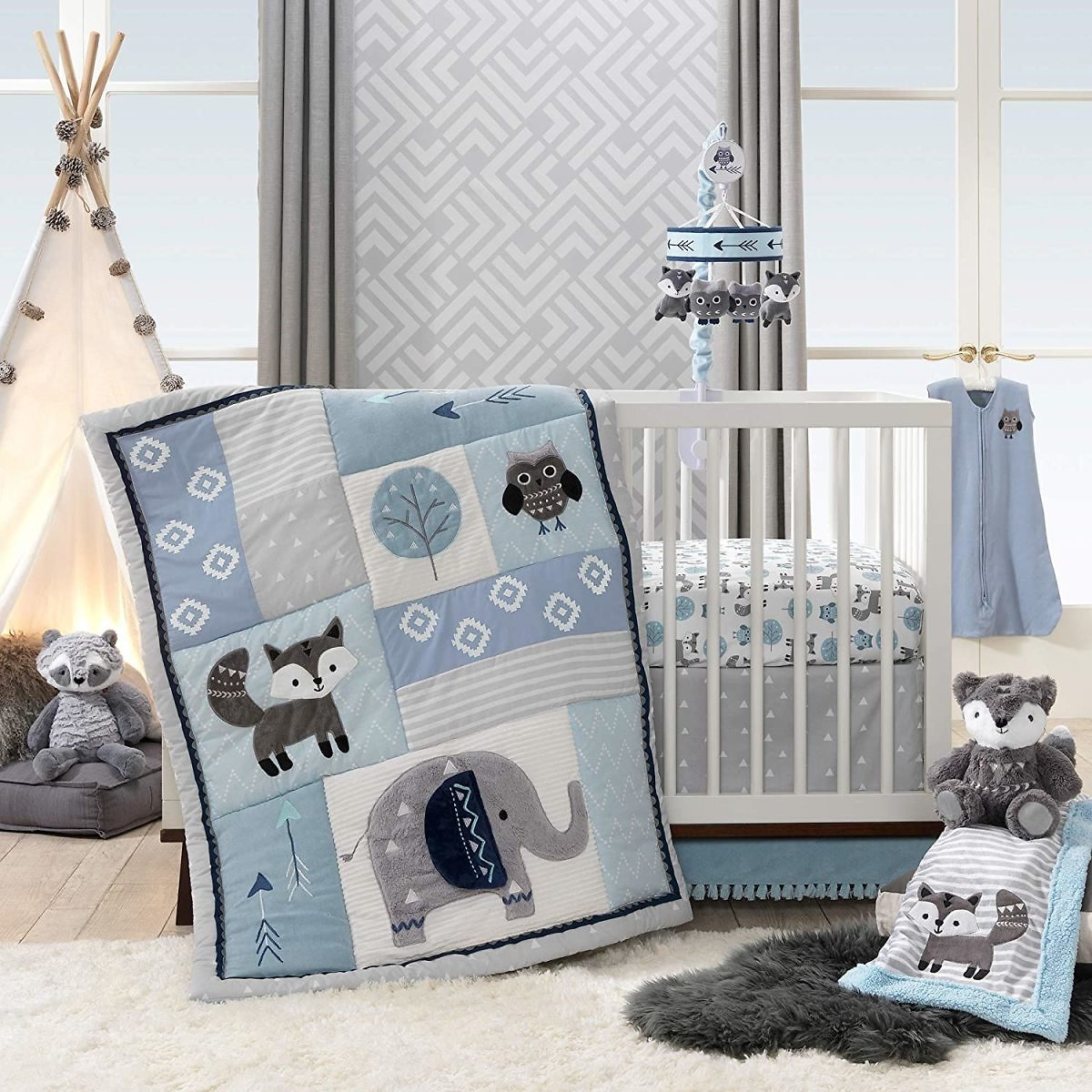Lambs & Ivy Stay Wild 4-Piece Crib Bedding Set