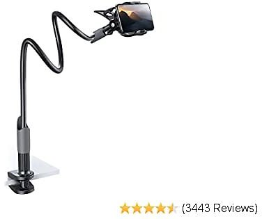Phone Holder Bed Gooseneck Mount - Lamicall Cell Phone Clamp Clip for Desk, Flexible Long Arm Headboard Bedside Lazy Bracket, Overhead Table Stand, Compatible with IPhone 11 Pro Xs Max XR X 8 7 6 Plus
