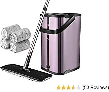 Flat Floor Mop and Bucket System,Upgrade Stainless Steel Mop Bucket with Wringer,Microfiber Mops for Floor Cleaning System,4 Washable & Reusable Mop Pads,360 Degree Rotation Pole Handle (purple)