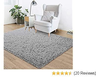 Goideal Fluffy Soft Bedroom Area Rugs 4ft X 6ft Shaggy Floor Indoor Rug for Living Room Kids Room Nursery Home Party Decoration Carpet, Grey