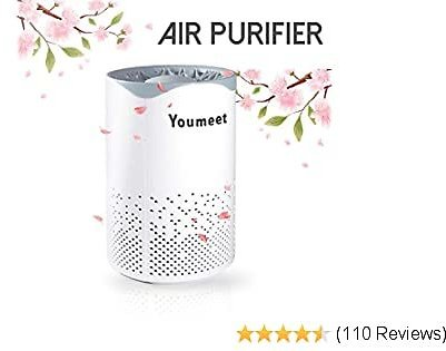 Air Purifier, Youmeet Portable Air Purifier for Home Bedroom, Noise-free Air Cleaner Odor Eliminator USB Powered 5 Stage Air Filter for Office Kitchen Car