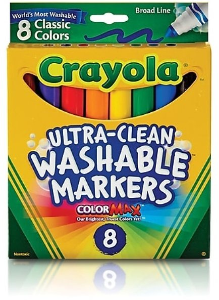 Crayola Classic Kid's Markers, Broad Point, Assorted, 8/Pack