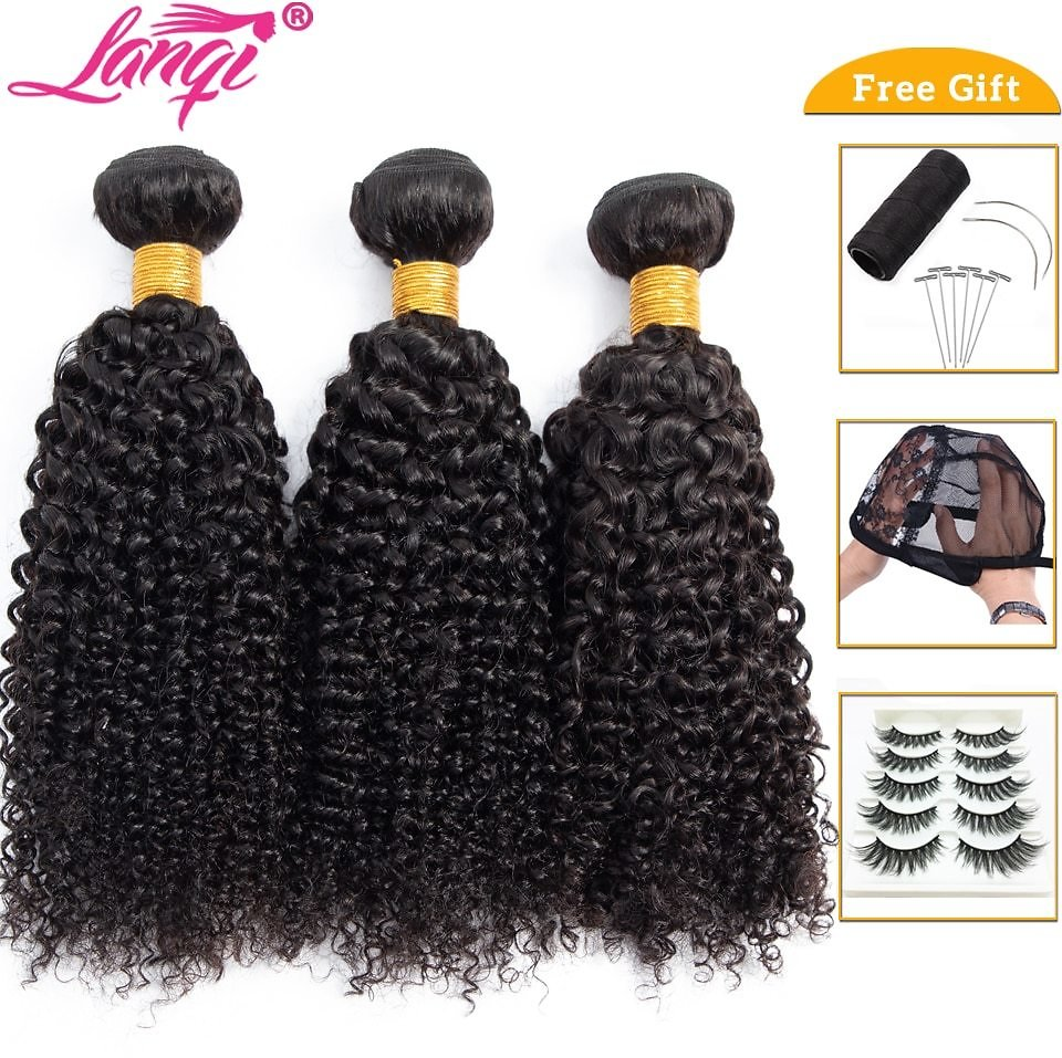 US $12.2 60% OFF|lanqi Afro Kinky Curly Hair Bundle Deals 100% Human Hair 3 Bundles or 1 Pc Non Remy Hair Extensions Brazilian Hair Weave Bundles|Hair Weaves| - AliExpress