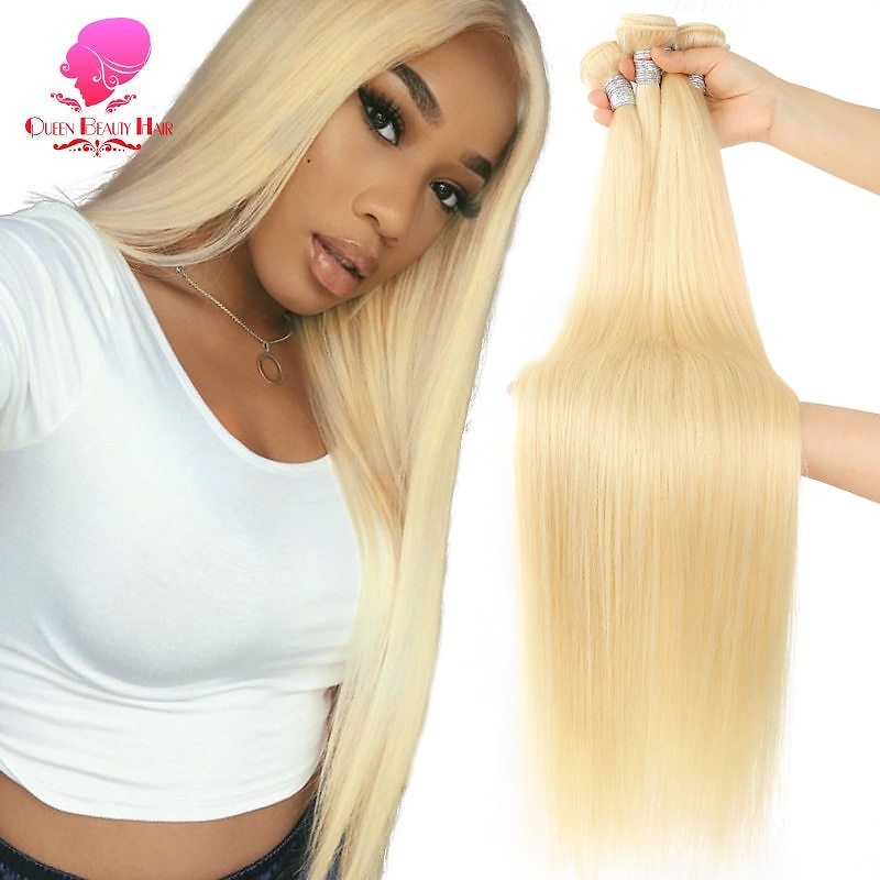 US $17.2 37% OFF|QUEEN BEAUTY 1/3/4 613 Blonde Hair Extensions Brazilian Hair Weave Bundles Straight Remy Human Hair 26 28 30 32 34 36 38 40 Inch|hair 613|hair Free Shippinghair Bundles - AliExpress