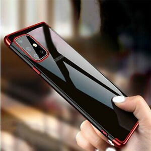 For Samsung Galaxy A51 A71 Shockproof Plating Silicone Hybrid Clear Case Cover
