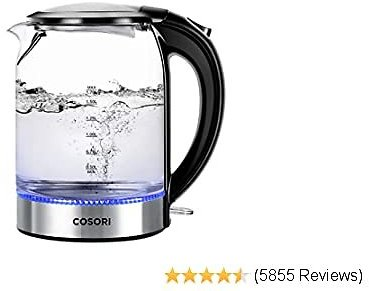 COSORI Glass Boiler Hot Water & Tea Heater with LED Indicator Light,100% Stainless Steel Inner Lid & Bottom, Auto Shut-Off & Boil-Dry Protection, 1.7L, Black