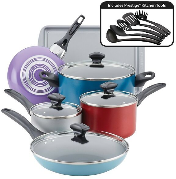 50% Off Farberware 15 Piece Aluminum Non Stick Cookware Set