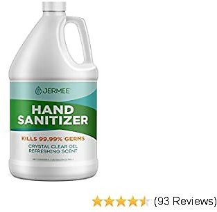 Jermee Moisturizing Hand Sanitizer Gel, 70% Alcohol - Kills 99.99% Germs, Enhanced with Vitamin E and Aloe Vera - Crystal Clear Gel, Refreshing Scent, Made in USA - 1 Gallon