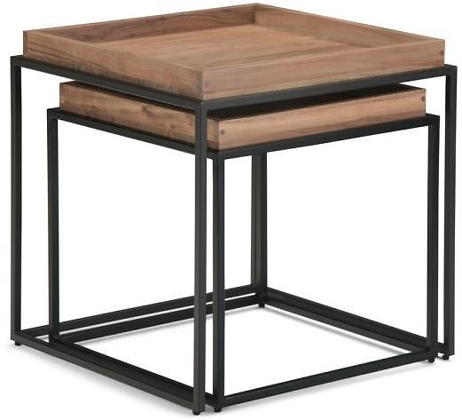 Simpli Home Carter 22 in Square 2-Piece Nesting Tray Top Table
