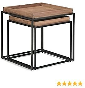 Simpli Home Carter Solid Acacia Wood and Metal 22 Inch Wide Square Industrial Contemporary 2 Pc Nesting Tray Top Table in Natural Acacia, Fully Assembled, for The Living Room and Bedroom