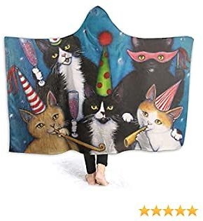 Cute Cat Party Hooded Blanket