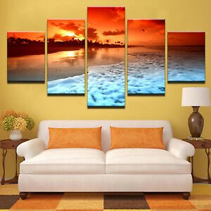 Sunset Glow Beach Sea Wave 5 Pieces Canvas Wall Art Print Picture Home Decor